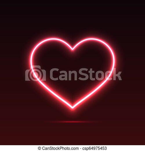 Banner Neon Heart - csp64975453