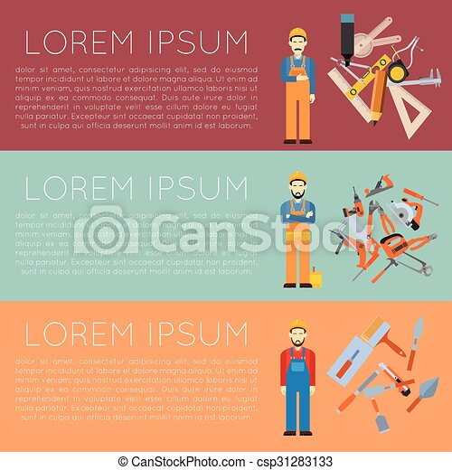 vector image of banner of tools for repair and home improvement.   canstock  can stock photo