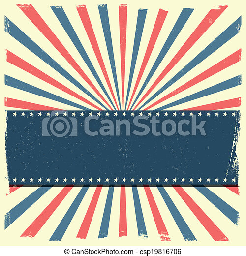 detailed illustration of a banner on a patriotic striped background