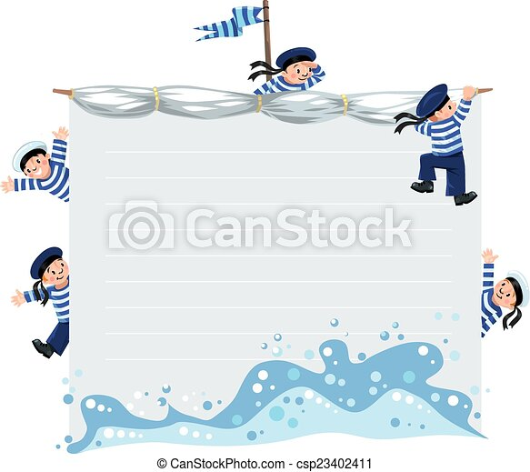 Banner or card with happy sailors - csp23402411