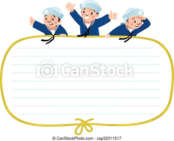 Banner or card with happy sailors - csp32311517