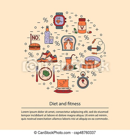 Banner Or Flyer Template Weight Loss Diet Card Fitness And Health