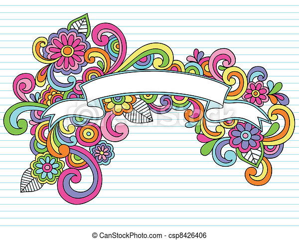 Banner Ribbon Frame Doodles Vector - csp8426406