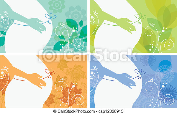 Banner set of silhouette of pregnant woman in different season - csp12028915