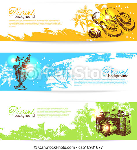 Banner set of travel colorful tropical splash backgrounds. Holoday banners with hand drawn sketch illustrations - csp18931677