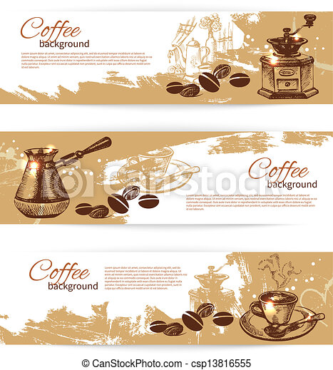Banner set of vintage coffee backgrounds. Menu for restaurant, cafe, bar, coffeehouse  - csp13816555