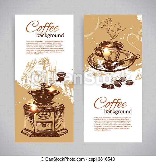 Banner set of vintage coffee backgrounds. Menu for restaurant, cafe, bar, coffeehouse  - csp13816543