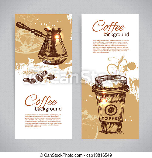 Banner set of vintage coffee backgrounds. Menu for restaurant, cafe, bar, coffeehouse  - csp13816549