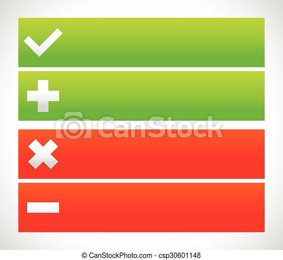 Banner set with check mark, cross, plus, minus signs. - csp30601148