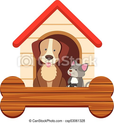 Banner template with cute dog and cat at pethouse - csp53061328