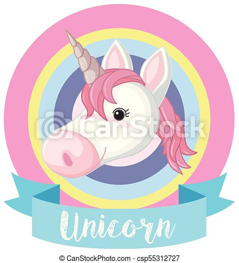 banner template with unicorn head illustration