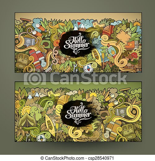 banner templates set with doodles camping theme - csp28540971