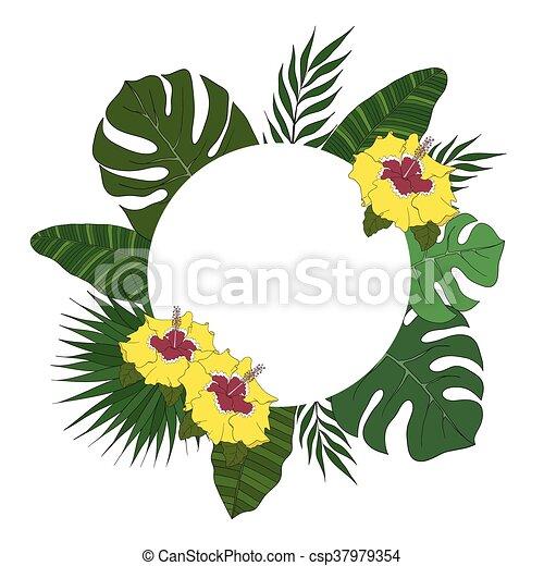 banner., ułożyć, drzewo, leaves., okrągły, tropikalny, dłoń, albo, karta - csp37979354