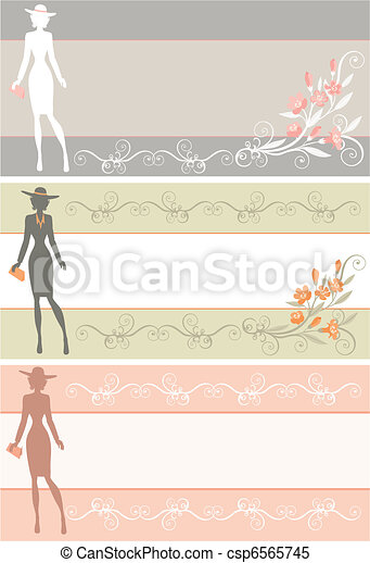 banner with a lady in a hat. - csp6565745