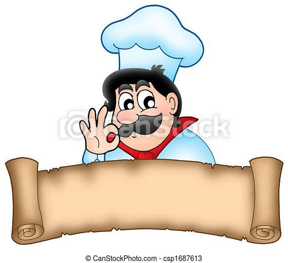 Banner with cartoon chef - csp1687613