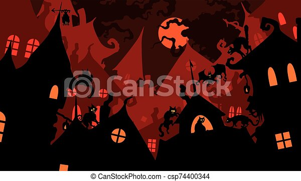 Banner with cats on fable roofs - csp74400344