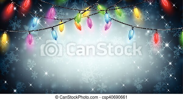 Banner with Christmas lights and snow. - csp40690661