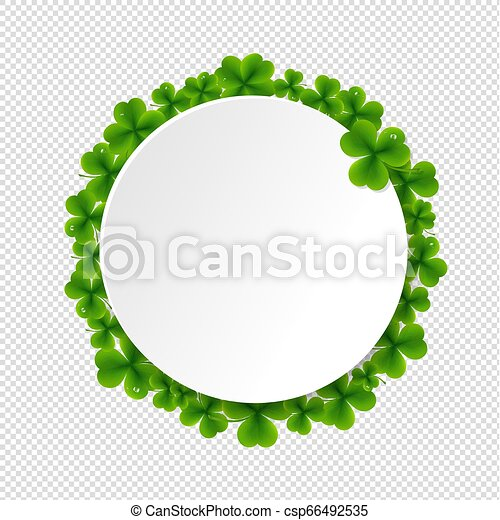 Banner With Clovers Transparent Background - csp66492535