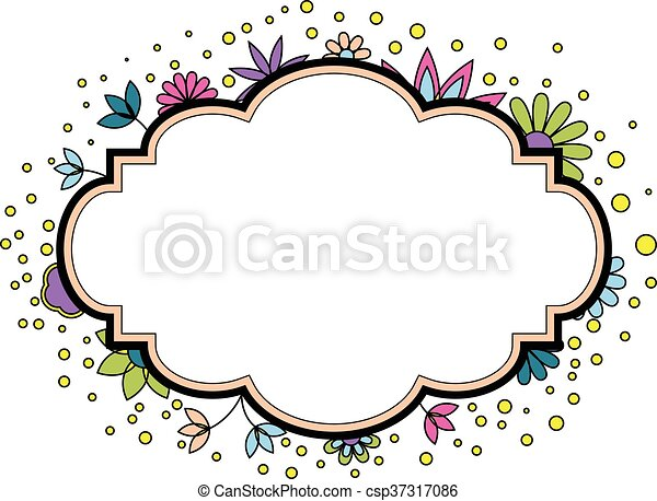 Banner with flowers colorful - csp37317086