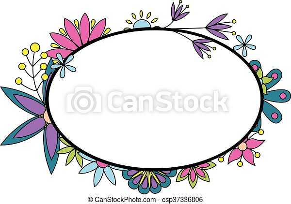 Banner with flowers colorful - csp37336806
