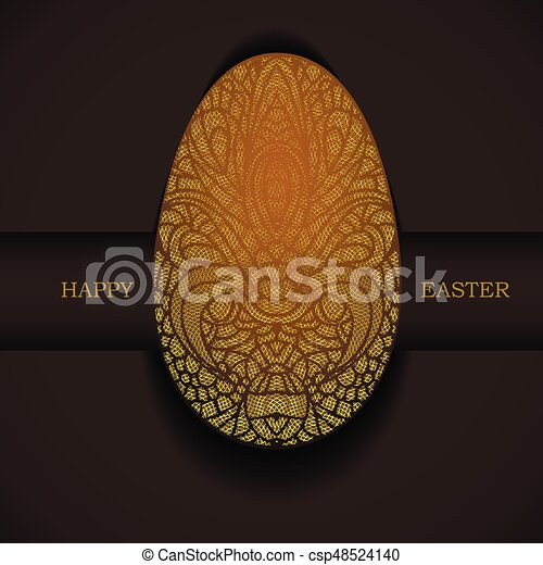 Banner with golden ornamental egg. Happy Easter holiday greeting. - csp48524140