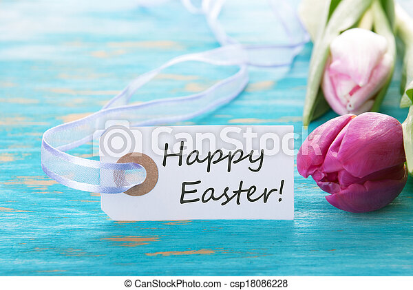 Banner with Happy Easter - csp18086228