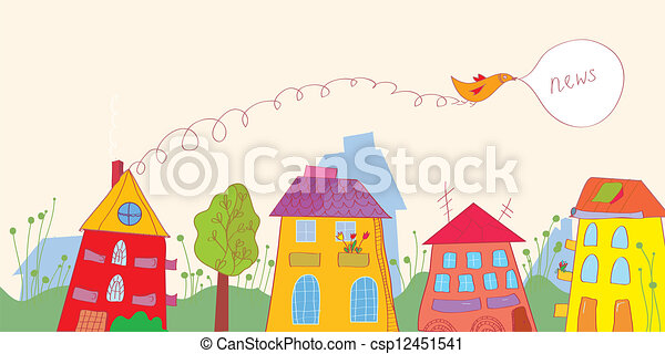 Banner with news - houses, bird, flowers funny design - csp12451541