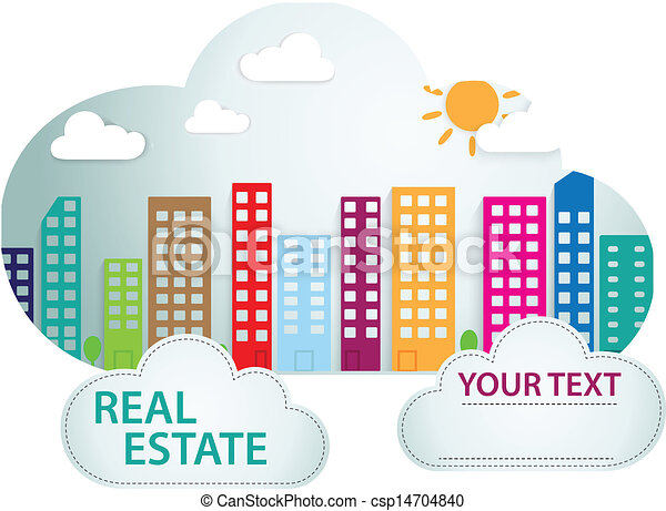 Banner with real estate in cloud  - csp14704840