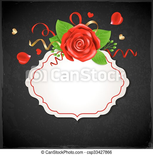 Banner with red rose - csp33427866