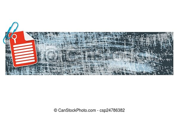 banner with scratches background and document and magnifier - csp24786382