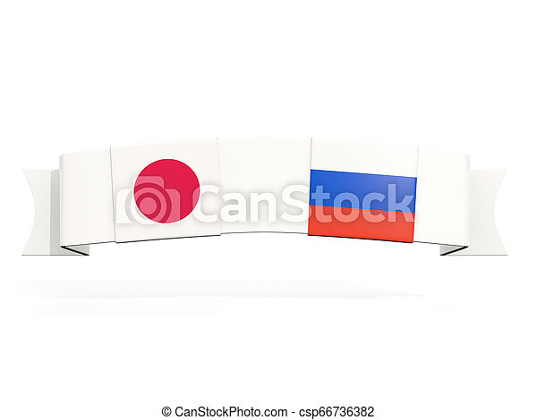 Banner with two square flags of Japan and russia - csp66736382