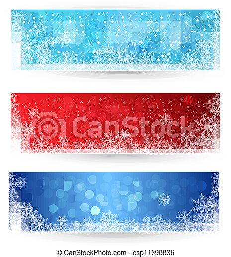 banners., ensemble, hiver, noël - csp11398836