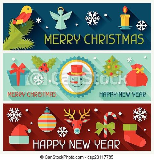 banners., feliz, ano, novo, horizontais, natal, feliz - csp23117785