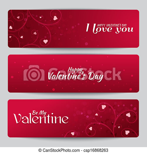 banners for st valentine s day with text