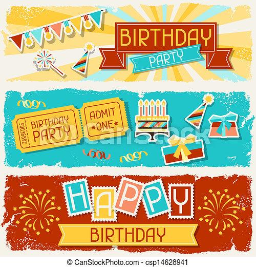 banners., horizontais, aniversário, feliz - csp14628941