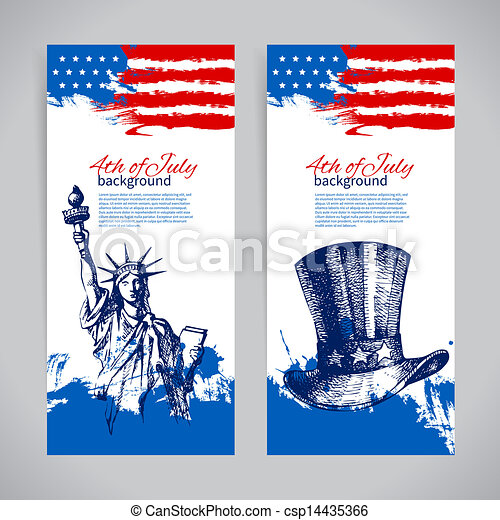 Banners of 4th July backgrounds with American flag. Independence Day vintage hand drawn design  - csp14435366