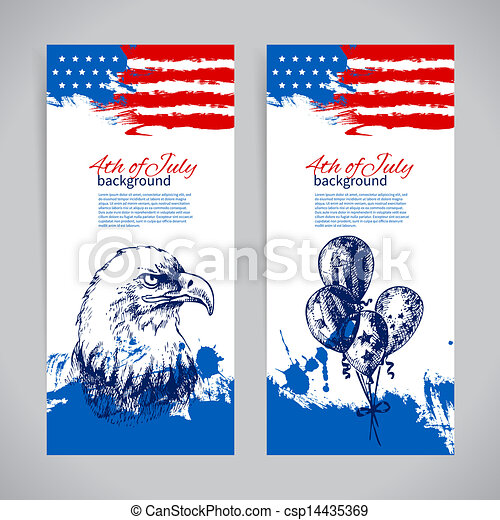 Banners of 4th July backgrounds with American flag. Independence Day vintage hand drawn design - csp14435369