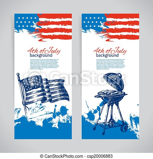 Banners of 4th July backgrounds with American flag. Independence Day hand drawn sketch design  - csp20006883