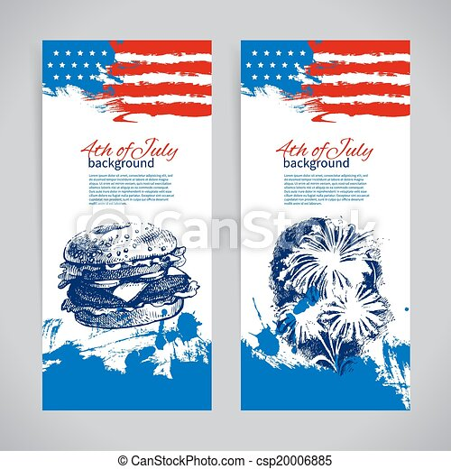 Banners of 4th July backgrounds with American flag. Independence Day hand drawn sketch design  - csp20006885