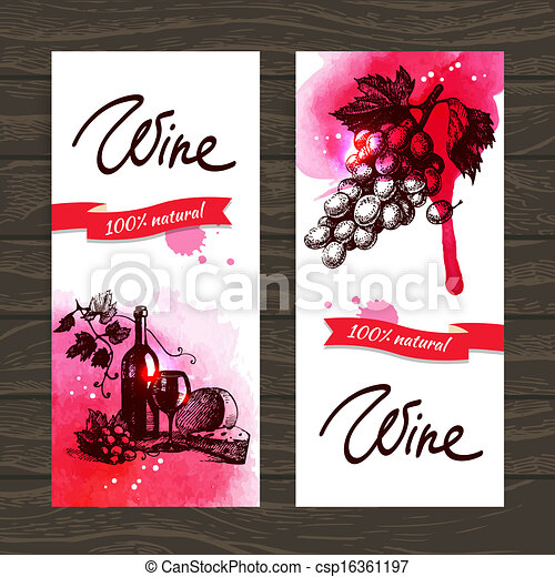 Banners of wine vintage background. Hand drawn watercolor illustrations - csp16361197