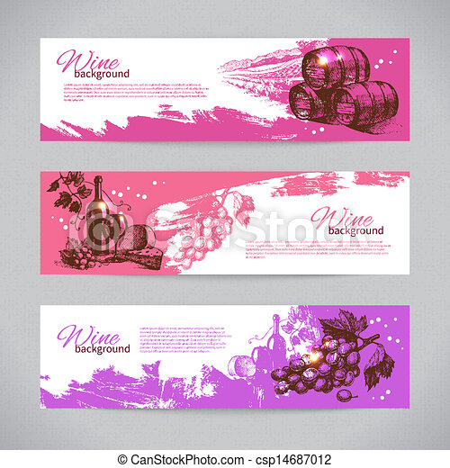 Banners of wine vintage background. Hand drawn illustrations - csp14687012