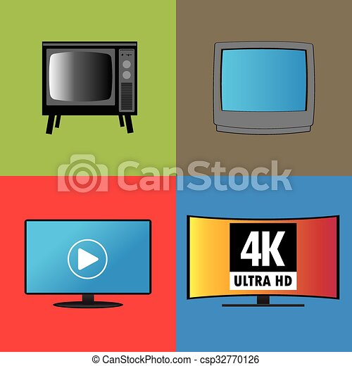 Banners or background, the evolution of television - csp32770126