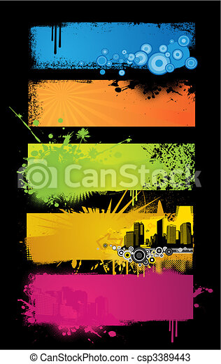 banners., set, colorato - csp3389443