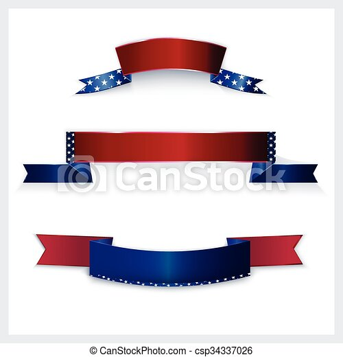Banners with American flag colors. - csp34337026