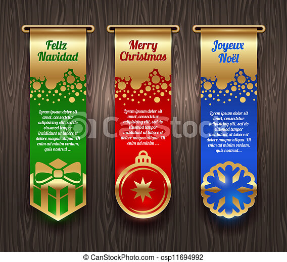 Banners with Christmas greetings - csp11694992