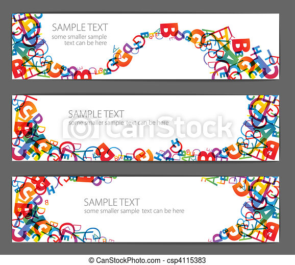 Banners with colorful rainbow numbers - csp4115383