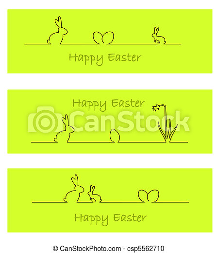 Banners with easter bunny, easter eggs, and daffodil - csp5562710