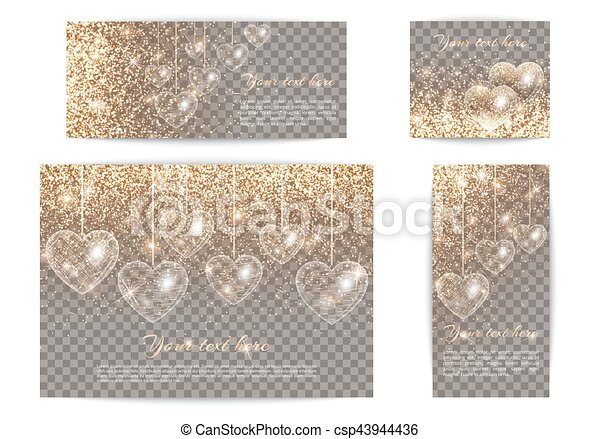 Banners with hearts of different sizes on a transparent backgrou - csp43944436