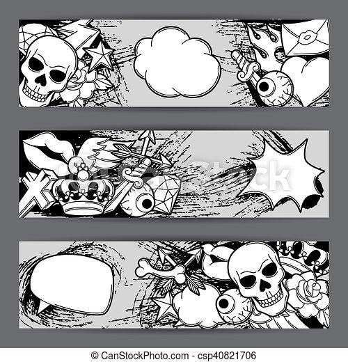 Banners With Retro Tattoo Symbols Cartoon Old School Illustration