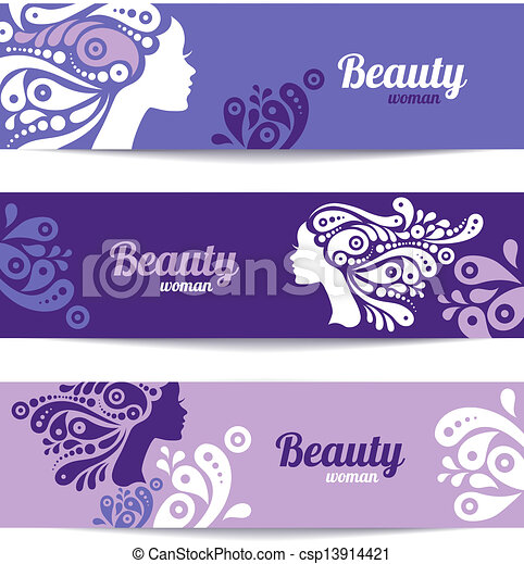 Banners with stylish beautiful woman silhouette. Template design cards - csp13914421